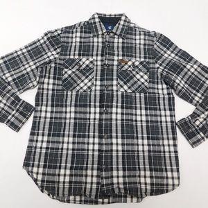 Rocawear L Black Button Down Shirt Flannel Cotton